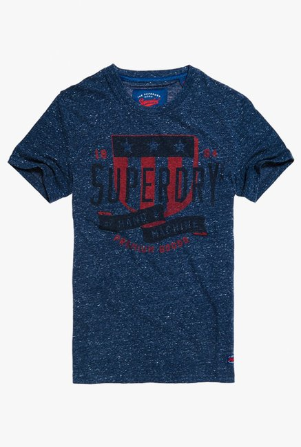 Superdry Dark Blue Printed Cotton T-Shirt