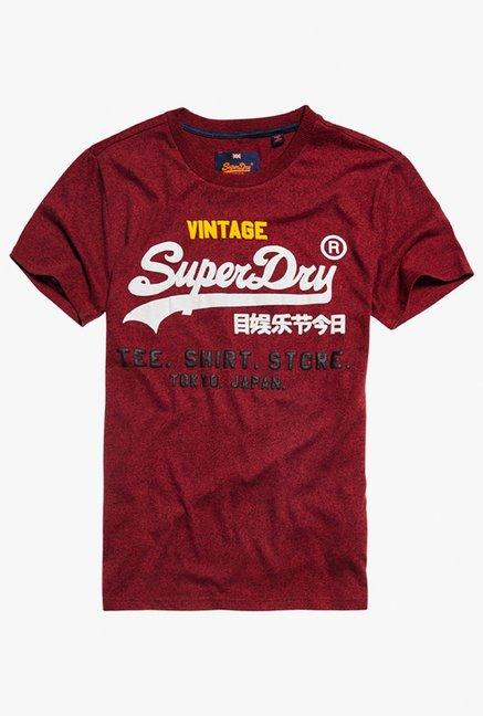 Superdry Maroon Round Neck Short Sleeves T-Shirt