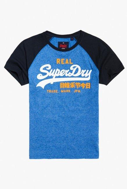 06e76c5db0842e Buy Superdry Royal Blue   Black Raglan Sleeves Printed T-Shirt for Men  Online   Tata CLiQ