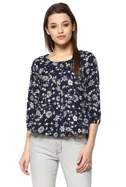 dcf6267c32ca Buy Mayra Navy Floral Print Top for Women Online @ Tata CLiQ