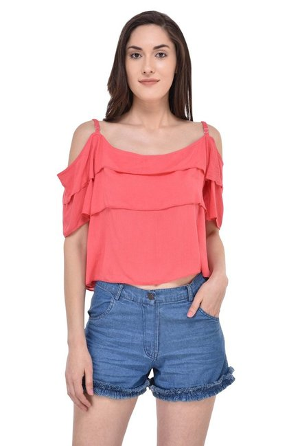 40d3723dbc40f2 Buy Mayra Peach Round Neck Top for Women Online   Tata CLiQ