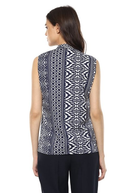Mayra Navy & White Printed Top