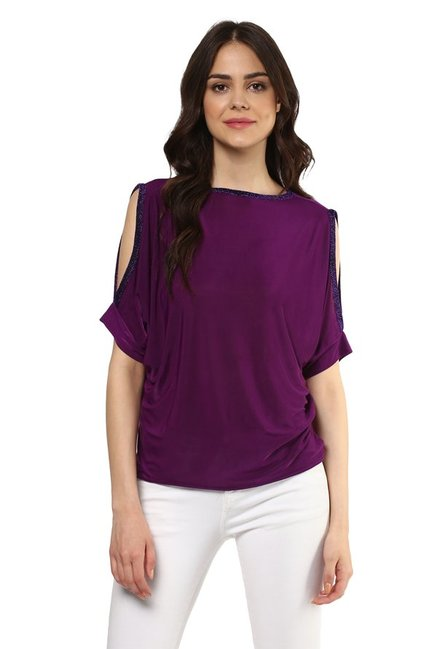 Mayra Purple Embellished Top