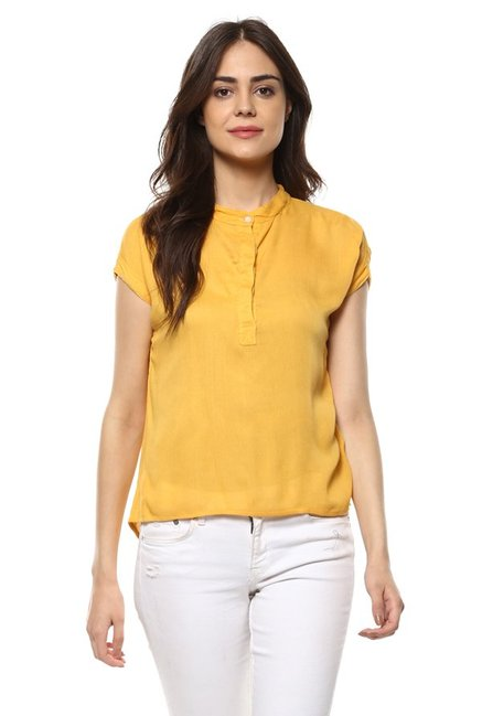 Mayra Yellow Band Neck Top