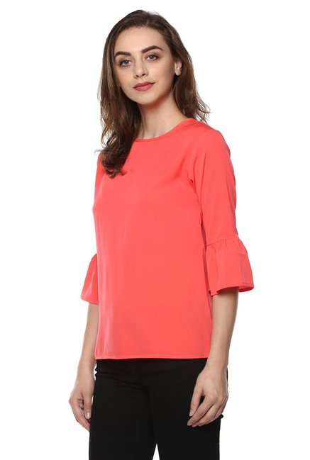 Mayra Peach Round Neck Top