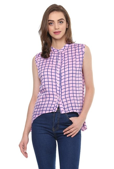 Mayra Pink Checks Top