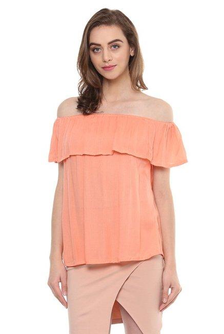 683f16eceb3ba3 Buy Mayra Peach Off Shoulder Top for Women Online   Tata CLiQ