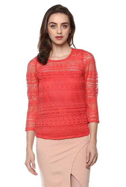 040bc8b13a7e89 Buy Mayra Peach Lace Top for Women Online   Tata CLiQ