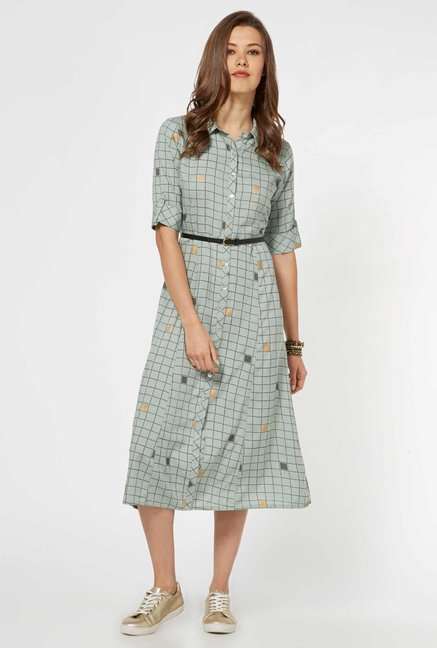 92c4336e278a3 Buy Bombay Paisley by Westside Light Green Dress with Belt for Women Online  @ Tata CLiQ