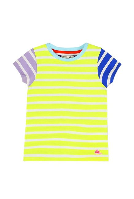 6b0493fd Buy Cherry Crumble California Neon Green Striped T-Shirt for Boys Clothing  Online @ Tata CLiQ
