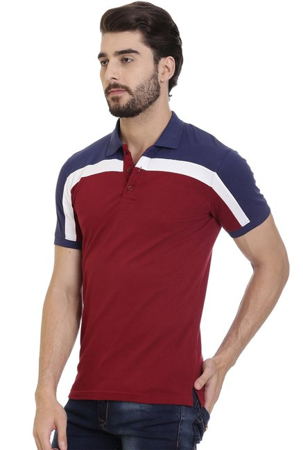ROCX Red & Blue Slim Fit Cotton Polo T-Shirt