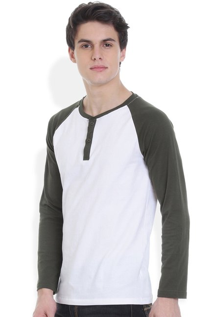 ROCX Olive & White Raglan Sleeves Cotton T-Shirt