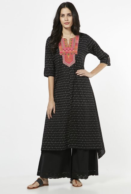 Utsa by Westside Black Pure Cotton Kurta