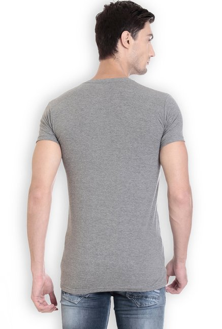 ROCX Grey Printed Cotton Slim Fit T-Shirt