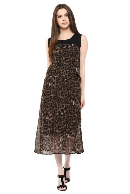 e384761fbd Buy Mayra Brown Animal Print Midi Dress for Women Online @ Tata ...