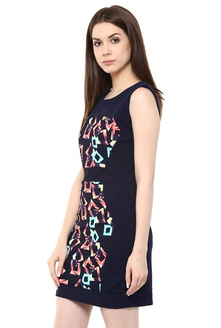 Mayra Navy Printed Above Knee Dress