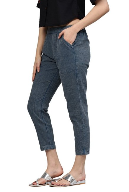 Jaipur Kurti Blue Cotton Slub Pants