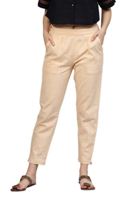 Jaipur Kurti Beige Cotton Slub Pants