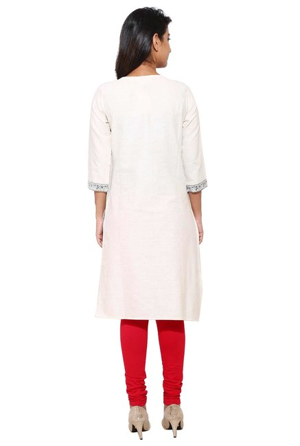 Aaboli Off White & Red Printed Cotton Straight Kurta