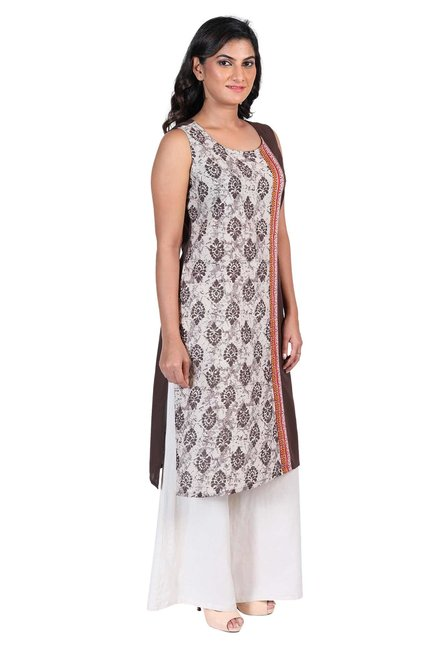 Aaboli Brown & Off White Printed Cotton Straight Kurta