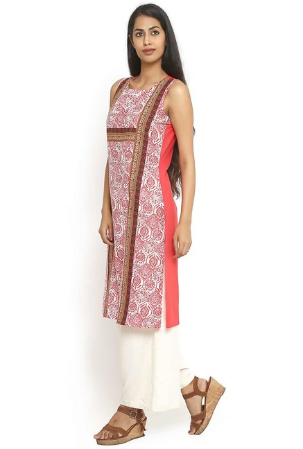Aaboli Coral Printed Cotton Straight Kurta