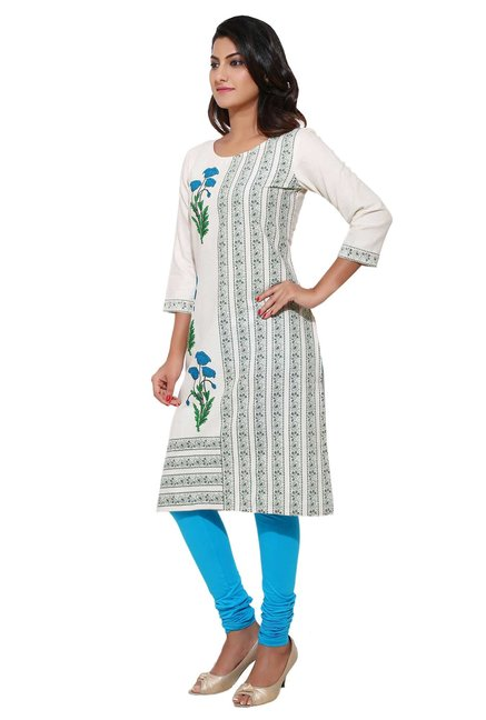Aaboli Off White & Blue Printed Cotton Straight Kurta