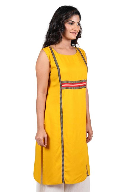 Aaboli Yellow Printed Rayon Straight Kurta