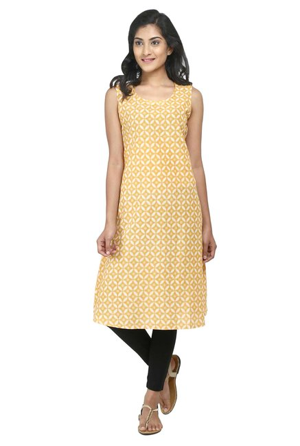 Aaboli Yellow Printed Cotton A-Line Kurta