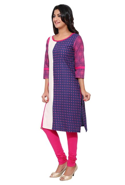 Aaboli Navy & Off White Printed Cotton Straight Kurta