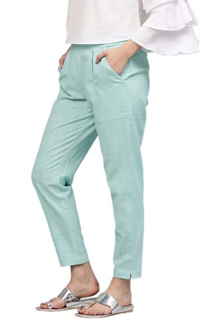 Jaipur Kurti Sky Blue Cotton Slub Pants