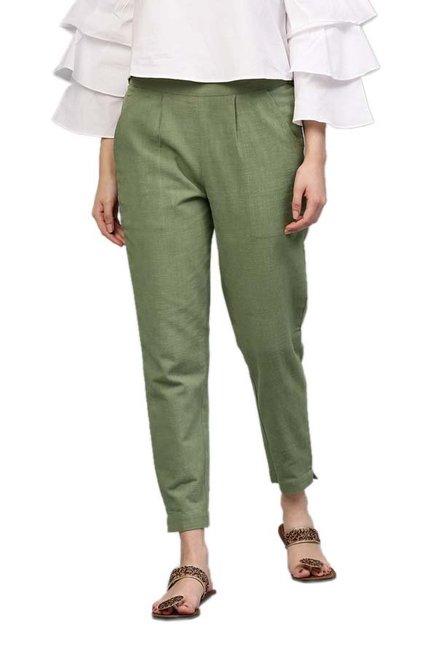 6087600a55cb Buy Jaipur Kurti Olive Cotton Slub Pants for Women Online   Tata CLiQ