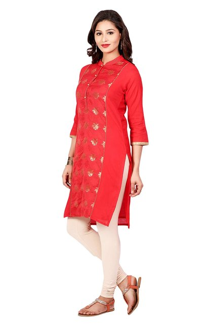 Aaboli Red Printed Chanderi Straight Kurta