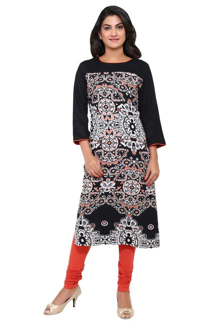 Aaboli Black & White Printed Rayon Straight Kurta