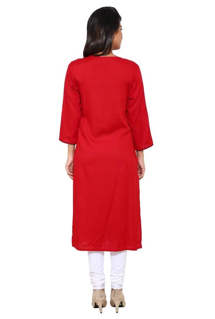 Aaboli Red Printed Rayon Straight Kurta