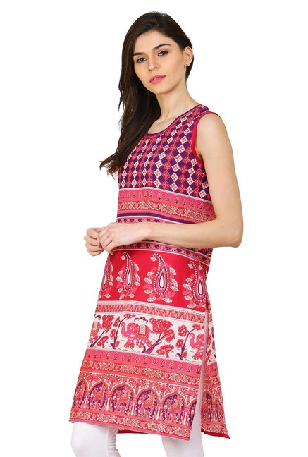 Aaboli Pink Printed Cotton Straight Kurta