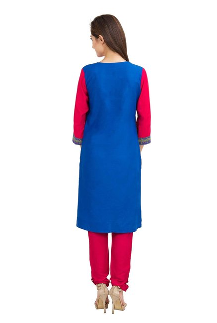 Aaboli Royal Blue & Pink Printed Rayon Straight Kurta