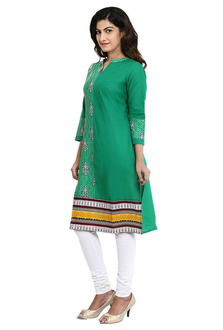 Aaboli Green Printed Cotton Straight Kurta