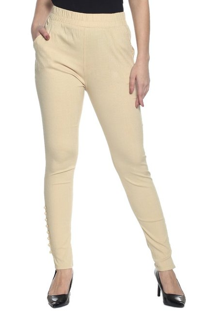 Soch Beige Slim Fit Cotton Pants