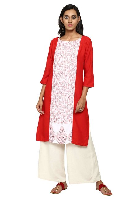 Aaboli Red & White Printed Rayon Straight Kurta