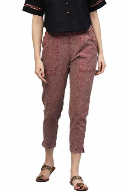 Jaipur Kurti Maroon Cotton Slub Pants