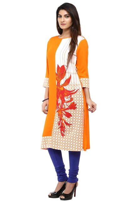 Aaboli Orange & White Printed Rayon Straight Kurta