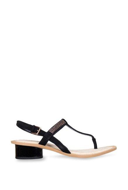 9bfce46772a31 Buy Clarks Sandcastle Top Black T-Strap Sandals for Women at Best ...