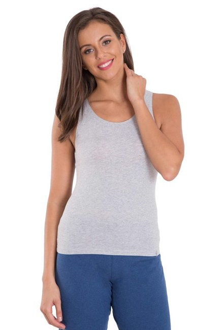 77e3d6ae6f79e2 Buy Jockey Light Grey Textured Tank Top - 1335 for Women Online ...