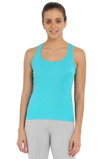 d95991ae6dc154 Buy Jockey Blue Cotton Tank Top - 1467 for Women Online   Tata ...