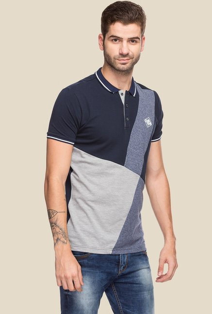 Status Quo Navy & Grey Half Sleeves Polo T-Shirt