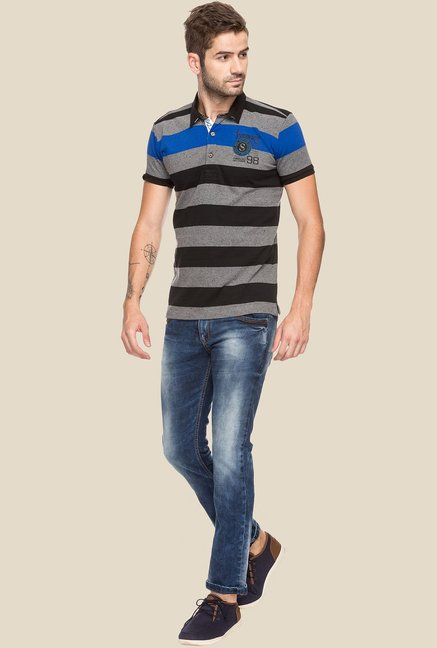 Status Quo Grey & Black Striped Polo T-Shirt