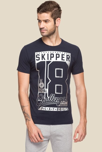 Royal Challengers Bangalore by Status Quo Navy Printed Slim Fit T-Shirt