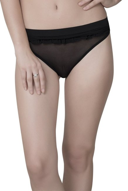 b7ad3e316 Buy Be Mine by Lingerie Shop Black Polyamide Thong Panty for Women Online    Tata CLiQ