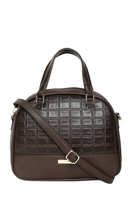 Addons Chocolate Brown Textured Handbag