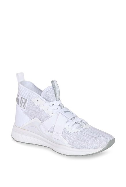 reputable site 3144b c75b7 Buy Puma Ignite evoKNIT 2 White & Quarry Running Shoes for Men at Best  Price @ Tata CLiQ
